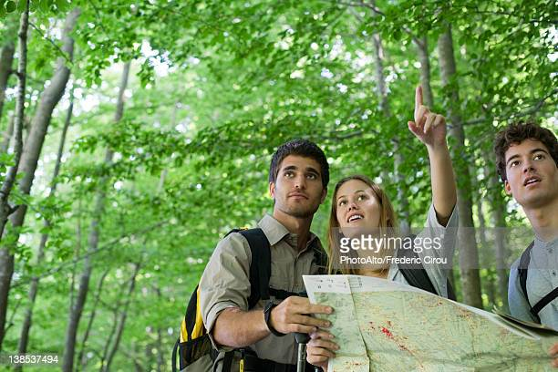 Hikers consulting map