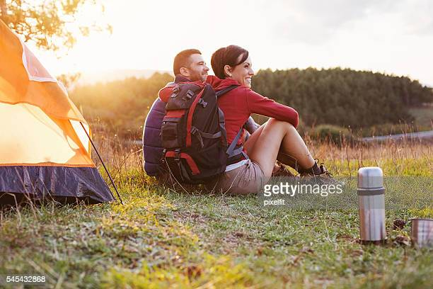 Hikers enjoying the scenics and sunset