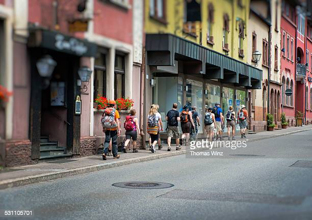 Hikers in a Black Forest town
