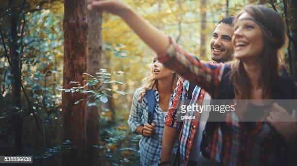 Wanderer im Wald.