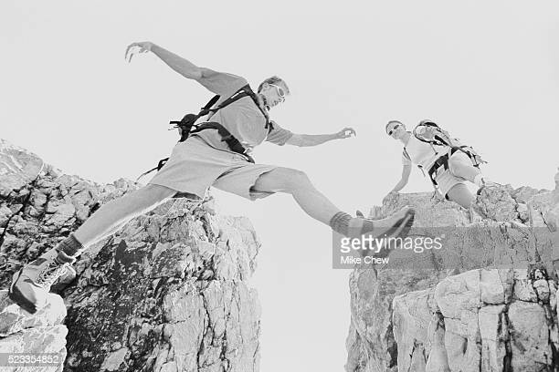 Hikers Jumping