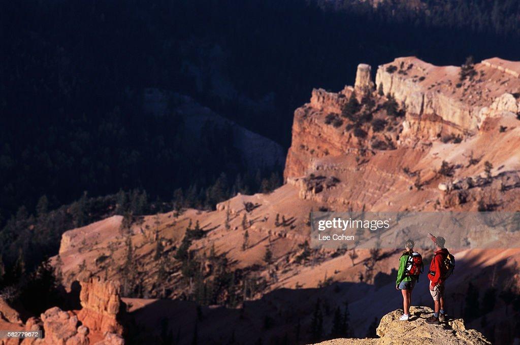 Hikers Looking at Canyon