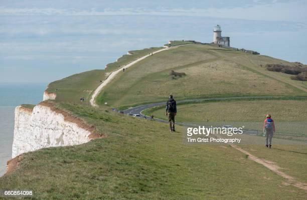 Hikers on Beachy Head, East Sussex