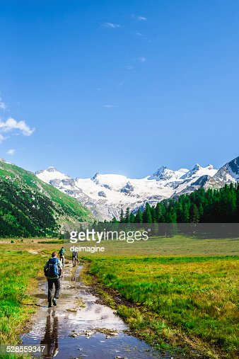 Hikers on mountain trail