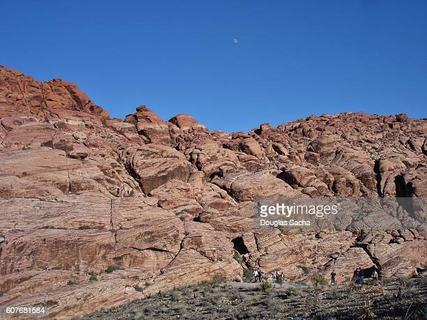 Hikers on the Rock Formation At Red Rock Canyon National Conservation Area, Nevada, USA