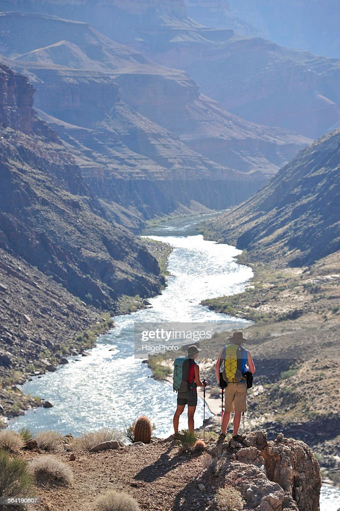 Hikers overlook the Colorado River as they follow a route that connect Tapeats Creek and Thunder River to Deer Creek in the Grand Canyon outside of Fredonia, Arizona November 2011.