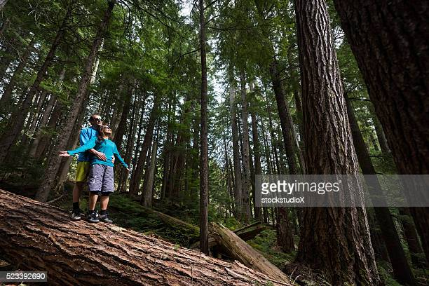 Hikers rejoicing in a temperate rainforest