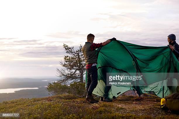 Hikers setting up tent on hilltop, Keimiotunturi, Lapland, Finland