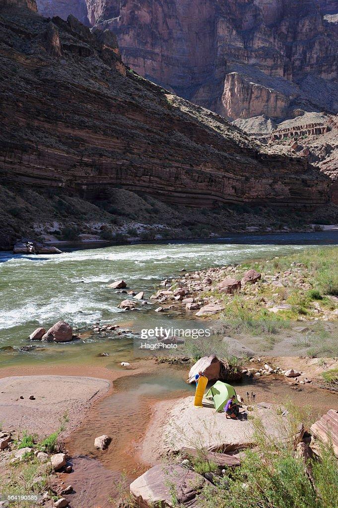 Hikers setup camp on a beach along the Colorado River in the Grand Canyon outside of Fredonia, Arizona November 2011.
