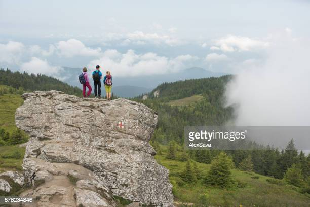 Hikers standing on high cliff surrounded by fresh green vegetation