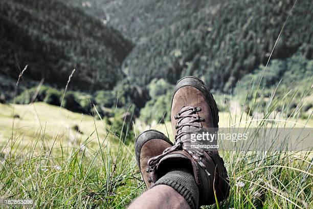 Wanderstiefel. Entspannen Sie sich in der Wanderung.