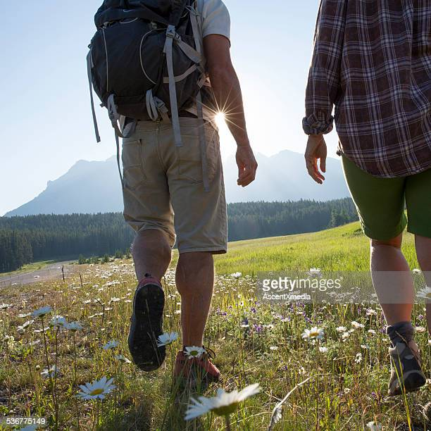 Hiking couple cross flower strewn meadow