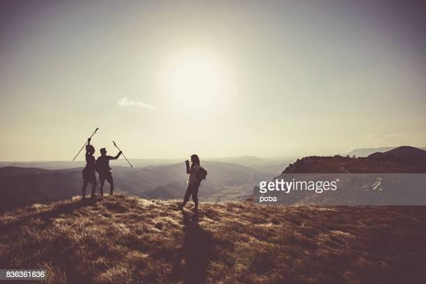 Hiking friends  on mountain peak