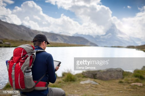 Hiking in Swiss Alps : Stock Photo