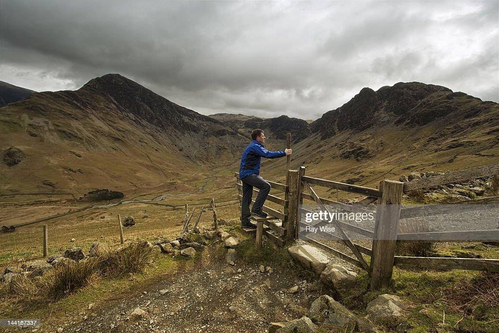 Hiking man : Stock Photo