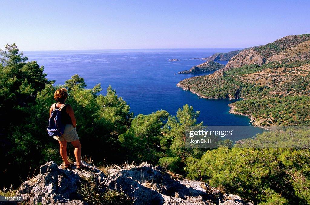 Hiking Mediterranean coastline between Kayakoy and Oludeniz, Kayakoy, Mugla, Turkey, Middle East : Stock Photo