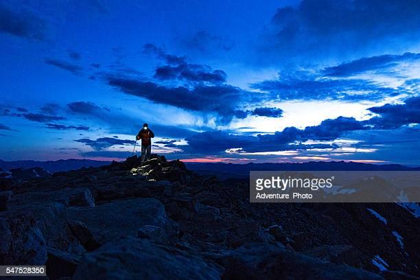 Hiking Mountain Summit at Dusk with Headlamp