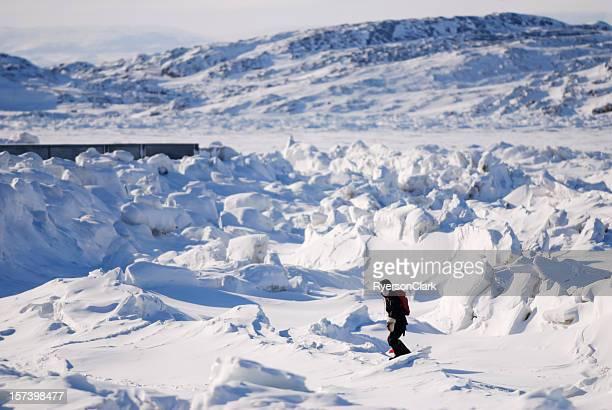 Randonnée sur de la glace, l'île de Baffin.