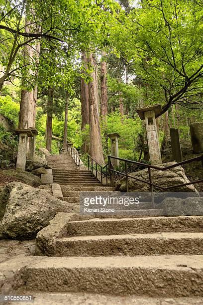 Hiking path that leads to the temple grounds of Yamadera Yamagata City Japan