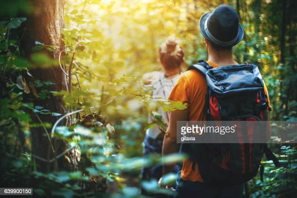 Wandern durch den Wald.