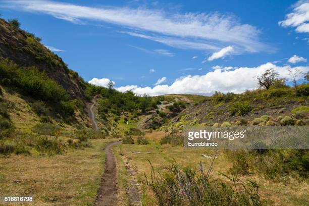 A hiking trail through the patagonian andes in Chilean Patagonia, South America
