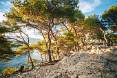 Path Hiking Trails Among Calanques On The French Riviera. Calanques - A Deep Bay Surrounded By High Cliffs.