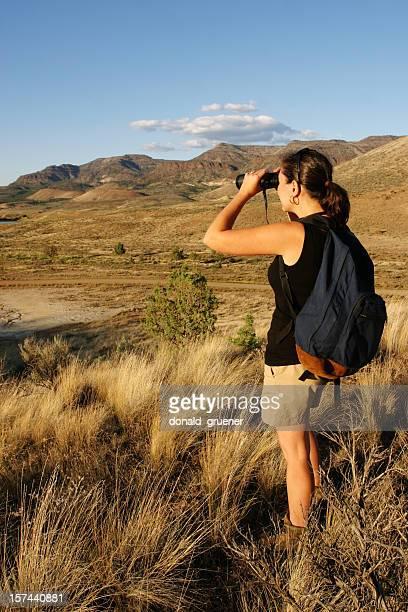 Hiking Woman with Binoculars