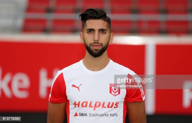 Hilal ElHelwe of Hallescher FC poses during the team presentation at on July 13 2017 in Halle Germany