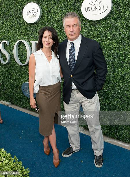 Hilaria Baldwin and Alec Baldwin attend the 15th annual USTA opening night gala at USTA Billie Jean King National Tennis Center on August 31 2015 in...