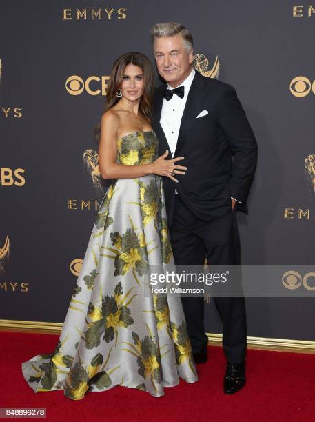 Hilaria Baldwin and Alec Baldwin attend the 69th Annual Primetime Emmy Awards at Microsoft Theater on September 17 2017 in Los Angeles California