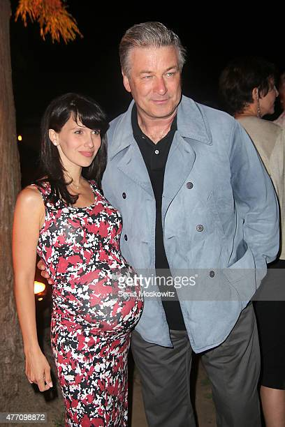 Hilaria Baldwin and Alec Baldwin attend the 'All My Sons' opening night performance at Guild Hall on June 13 2015 in East Hampton New York
