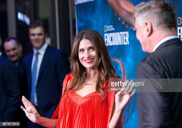 Hilaria Baldwin and Alec Baldwin attend the National Geographic Encounter Blue Carpet VIP Preview Celebration on October 4 2017 in New York City