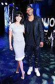 Hilaria Baldwin and Victor Cruz atttend TWC Studios on January 28 2014 in New York City