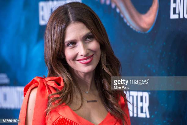 Hilaria Baldwin attends the National Geographic Encounter Blue Carpet VIP Preview Celebration on October 4 2017 in New York City