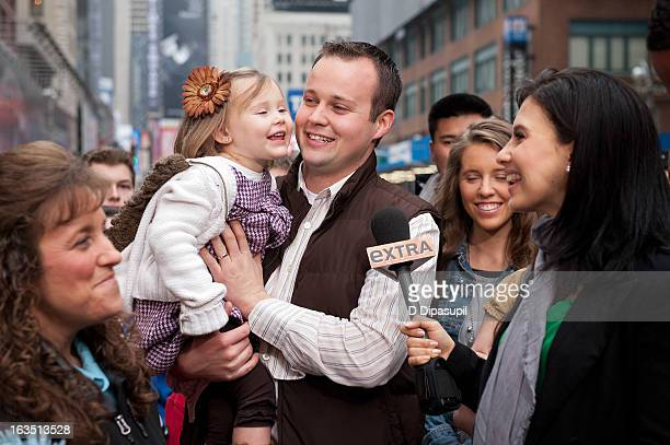 Hilaria Baldwin interviews Josh Duggar and his daughter during their visit with 'Extra' in Times Square on March 11 2013 in New York City