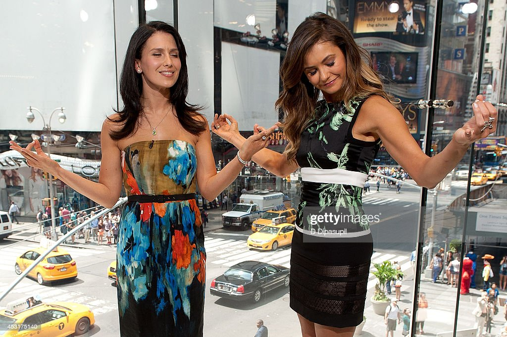 Hilaria Baldwin (L) interviews Nina Dobrev during her visit to 'Extra' at their New York studios at H&M in Times Square on August 4, 2014 in New York City.