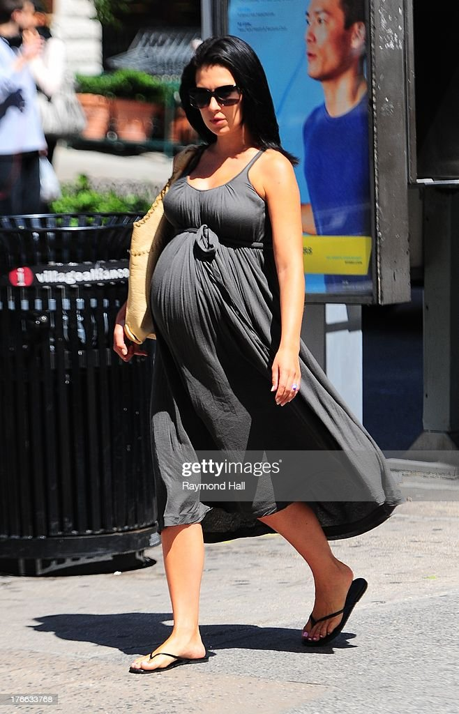 Hilaria Baldwin is seen in Soho on August 16, 2013 in New York City.