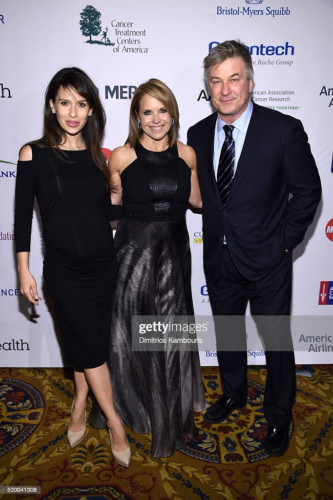 Hilaria Baldwin, Katie Couric and Alec Baldwin attend Stand Up To Cancer's New York Standing Room Only, presented by Entertainment Industry Foundation, with donors American Airlines and Merck, chaired by Jim Toth, Reese Witherspoon & MasterCard President/CEO Ajay Banga and his wife Ritu, honoring Katie Couric at Cipriani Wall Street on April 9, 2016 in New York City.