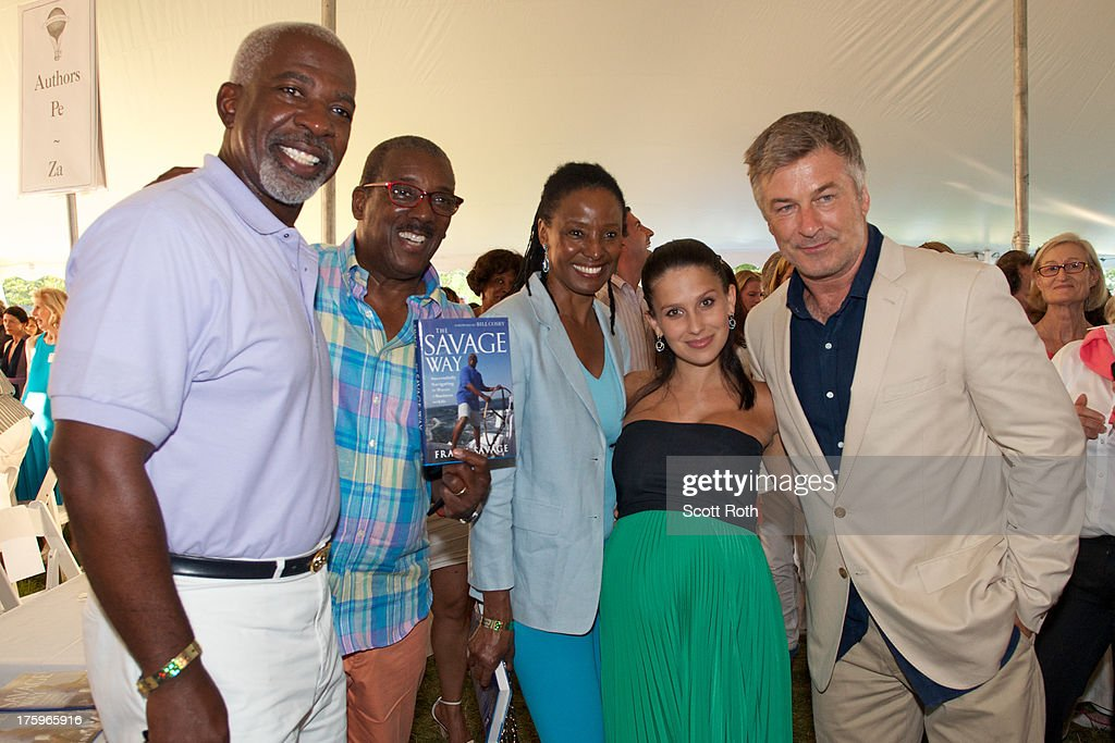 <a gi-track='captionPersonalityLinkClicked' href=/galleries/search?phrase=Hilaria+Thomas&family=editorial&specificpeople=7856471 ng-click='$event.stopPropagation()'>Hilaria Thomas</a> (2nd from R), <a gi-track='captionPersonalityLinkClicked' href=/galleries/search?phrase=Alec+Baldwin&family=editorial&specificpeople=202864 ng-click='$event.stopPropagation()'>Alec Baldwin</a> (R), and guests attend 9th Annual Authors Night at The East Hampton Library on August 10, 2013 in East Hampton, New York.