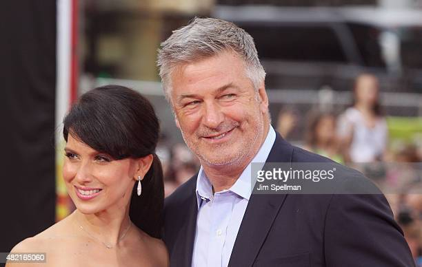 Hilaria Thomas and actor Alec Baldwin attend the 'Mission Impossible Rogue Nation' New York premiere at Times Square on July 27 2015 in New York City