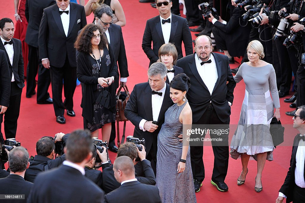 Hilaria Thomas (C) and actor Alec Baldwin with director James Toback (2nd R)Stephanie (R) Toback and Andre Toback (3rd from R) attend the premiere for 'Seduced and Abandoned' during The 66th Annual Cannes Film Festival at the Palais des Festivals on May 20, 2013 in Cannes, France.