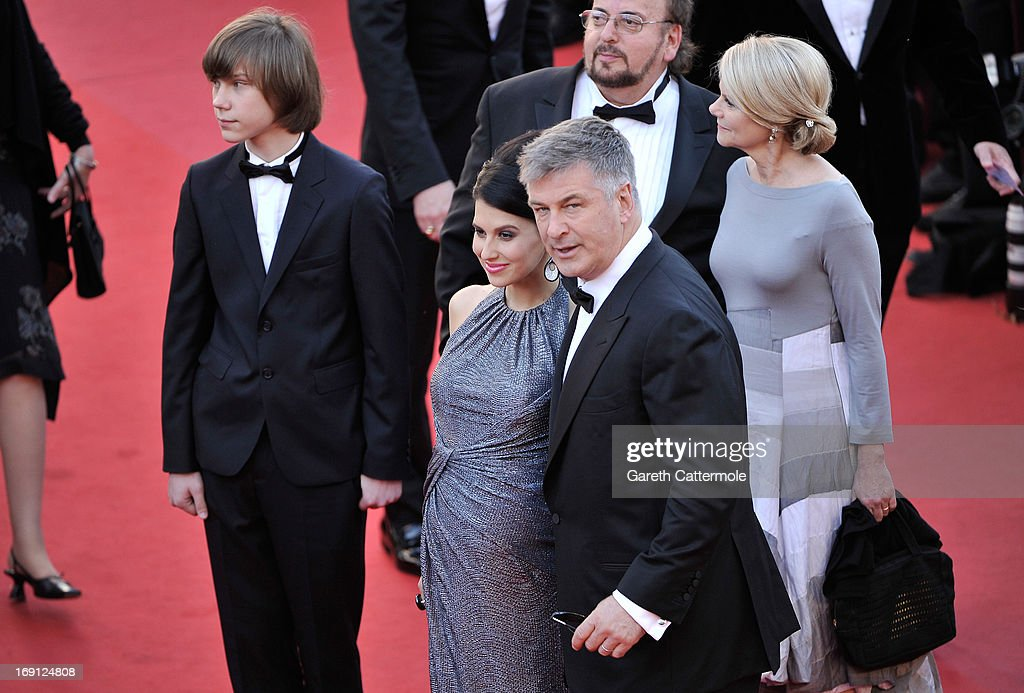 Hilaria Thomas (C) and actor Alec Baldwin (R) with director James Toback (back) attend the premiere for 'Seduced and Abandoned' during The 66th Annual Cannes Film Festival at the Palais des Festivals on May 20, 2013 in Cannes, France.