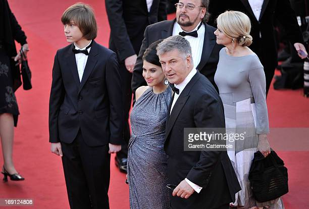 Hilaria Thomas and actor Alec Baldwin with director James Toback attend the premiere for 'Seduced and Abandoned' during The 66th Annual Cannes Film...