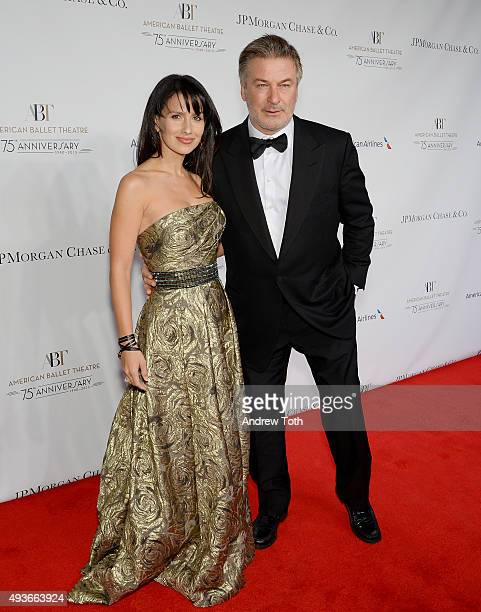 Hilaria Thomas and Alec Baldwin attend the American Ballet Theatre's 75th Anniversary Gala at David H Koch Theater Lincoln Center on October 21 2015...