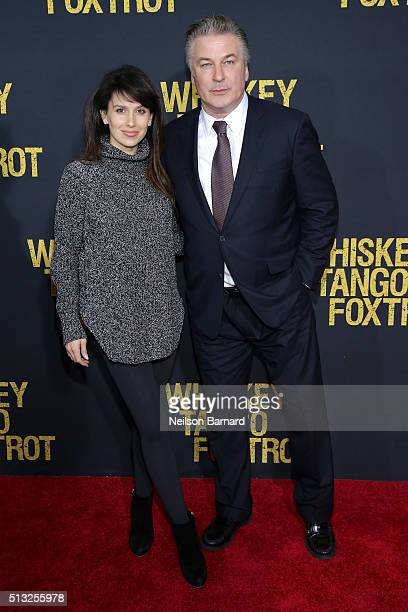 Hilaria Thomas Baldwin and Alec Baldwin attend the World Premiere of the Paramount Pictures title 'Whiskey Tango Foxtrot' on March 1 2016 at AMC...