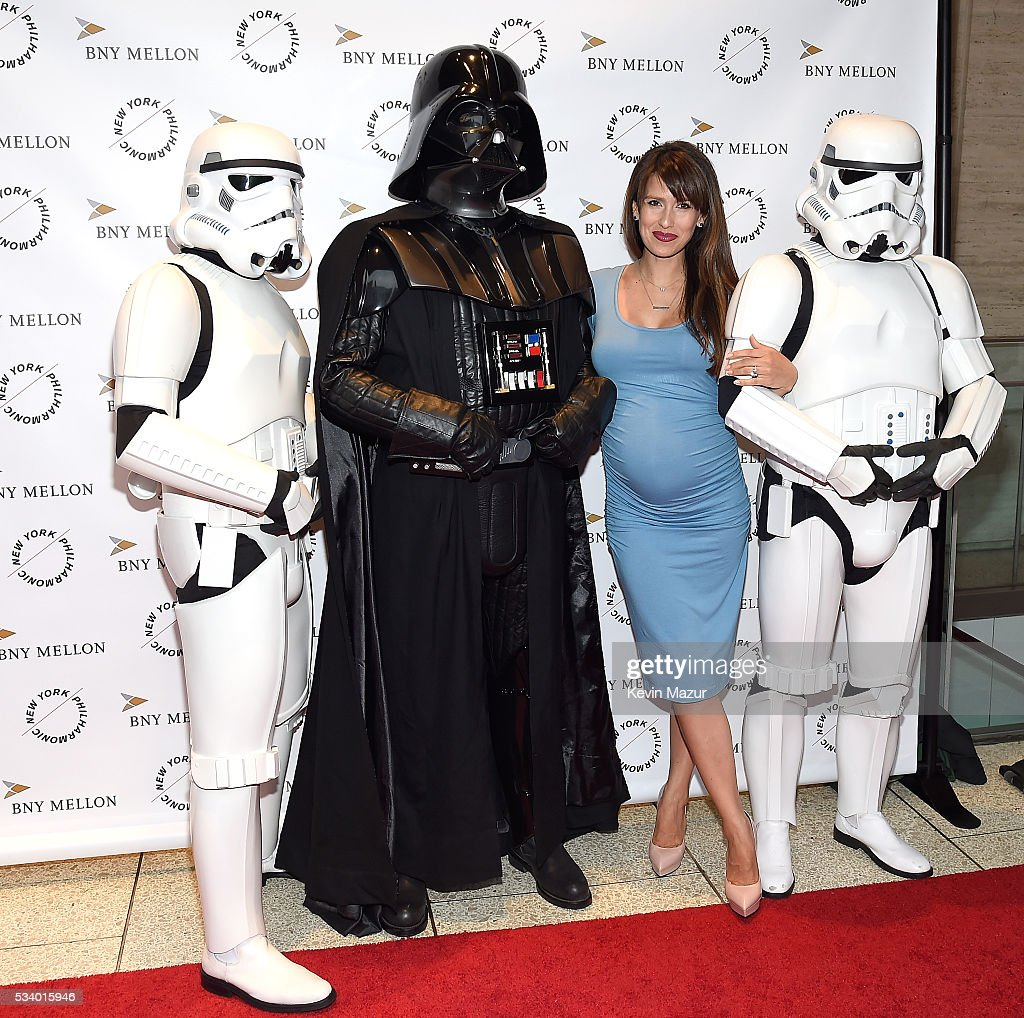 Hilaria Thomas Baldwin, Darth Vader and Stormtroopers attend New York Philharmonic's Spring Gala, A John Williams Celebration at David Geffen Hall on May 24, 2016 in New York City.