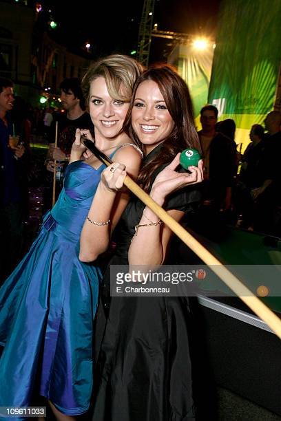 Hilarie Burton and Danneel Harris during The CW Launch Party Inside at WB Main Lot in Burbank California United States