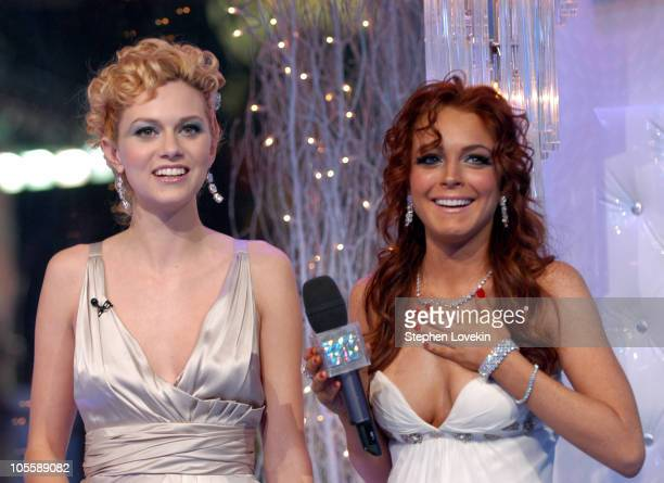 Hilarie Burton and Lindsay Lohan during MTV's 'Iced Out' New Year's Eve 2005 Show at MTV Studios Times Square in New York City New York United States