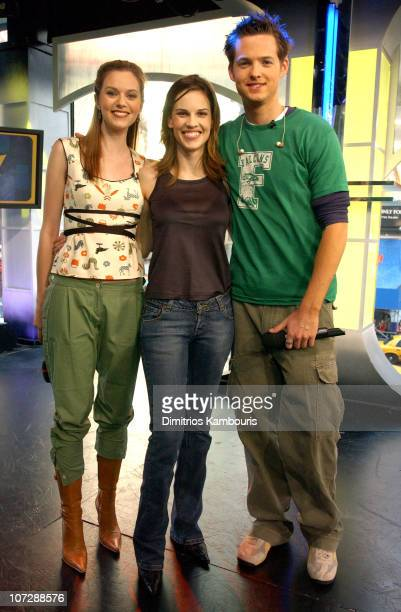 Hilarie Burton Hilary Swank and Damien Fahey during Vanessa Olivarez from 'American Idol' and Hilary Swank Visit MTV's 'TRL' March 17 2003 at MTV...