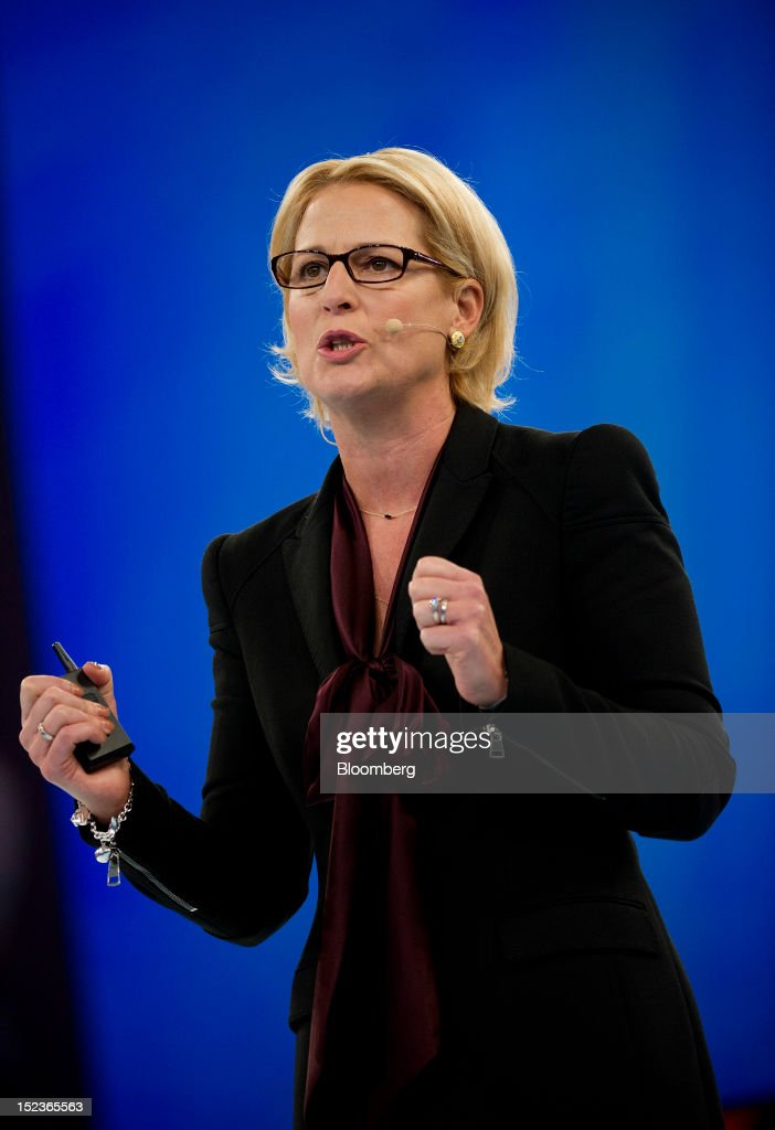 Hilarie Koplow-McAdams, president of the commercial/SMB business unit for Salesforce.com Inc., speaks during a keynote address at the DreamForce Conference in San Francisco, California, U.S., on Wednesday, Sept. 19, 2012. Salesforce.com Inc. said it's releasing a new version of its software for tablet computers and unifying its social-media marketing products into a single suite, as it races to stay ahead of new market entrants. Photographer: David Paul Morris/Bloomberg via Getty Images